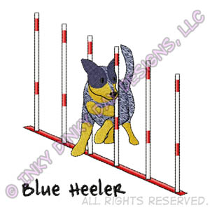 Blue Heeler Weave Poles Embroidery