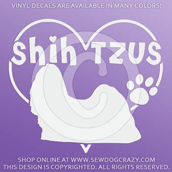 Vinyl Heart Shih Tzus Decals