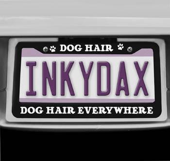 Dog Hair License Plate Frame