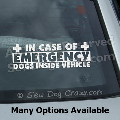 In Case of Emergency Dog Car Window Sticker