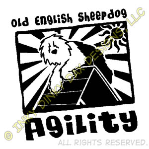 Old English Sheepdog Agility Cartoon