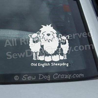 Old English Sheepdog Sheep Car Window Sticker