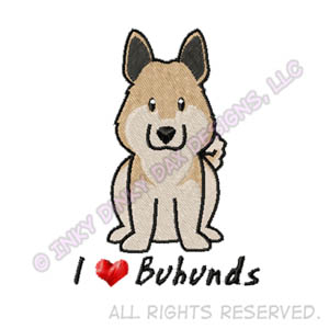 I Love Buhunds Embroidery