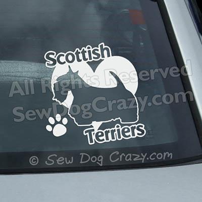 Love Scottish Terriers Car Window Sticker