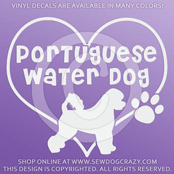 Love Portuguese Water Dog Vinyl Sticker