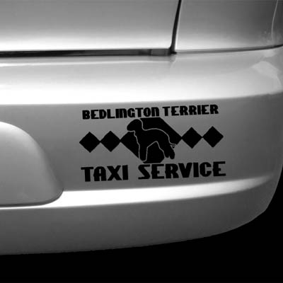 Bedlington Terrier Taxi Vinyl Decal