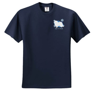 Pretty Snowflake Rough Collie Embroidered T-Shirt