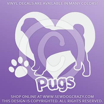I Love Pugs Vinyl Sticker