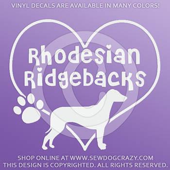 Love Rhodesian Ridgebacks Vinyl Decal