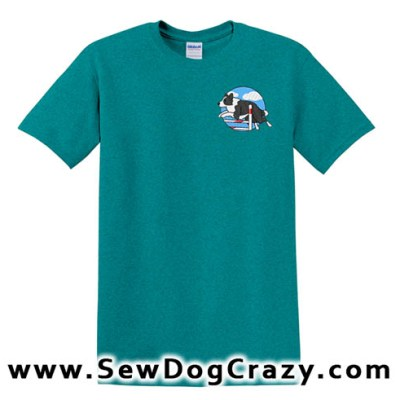 Embroidered Border Collie Bar Jump TShirt