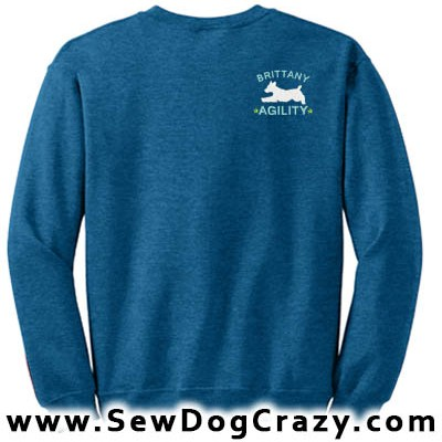 Embroidered Brittany Agility Dog Sweatshirt