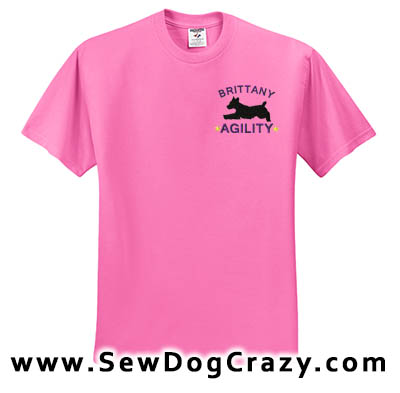 Embroidered Brittany Agility Dog TShirt
