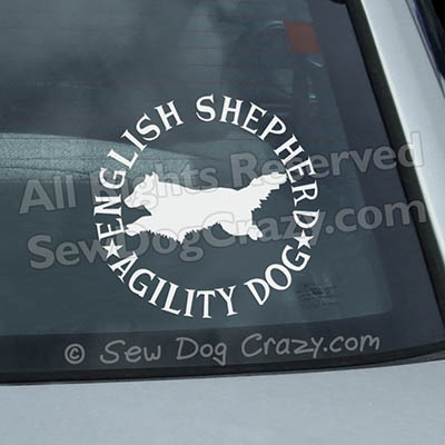 English Shepherd Agility Car Window Stickers