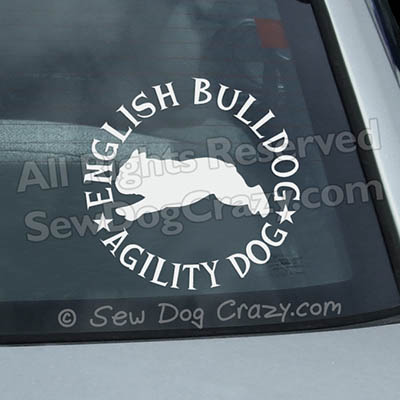 English Bulldog Agility Car Window Stickers
