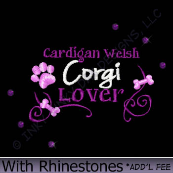 Rhinestones Cardigan Welsh Corgi Embroidery