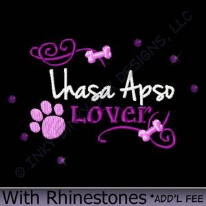 Rhinestones Lhasa Apso Embroidery