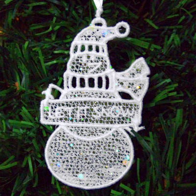 Embroidered Snowman Ornament