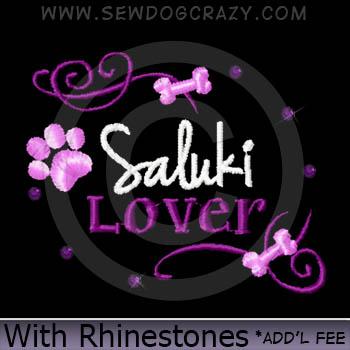 Rhinestones Saluki Lover Embroidered Shirts