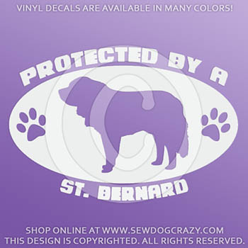 Protected by a Saint Bernard Vinyl Decals