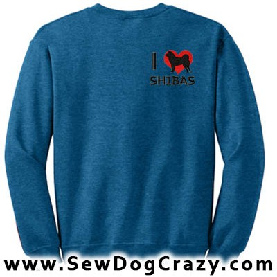 Embroidered I Love Shiba Inus Sweatshirt
