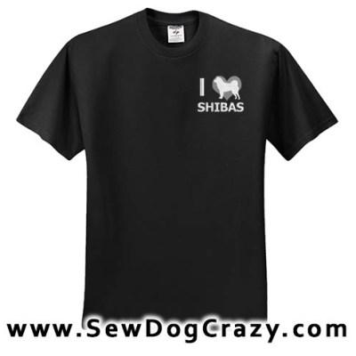 Embroidered I Love Shiba Inus Tshirt