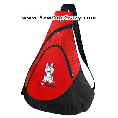 Cartoon Siberian Husky Bags
