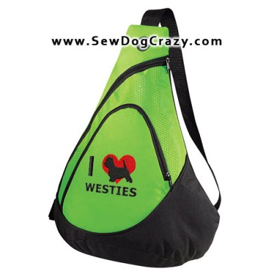 I Love Westies Embroidered Bag