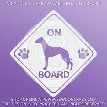Whippet On Board Vinyl Stickers