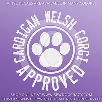 Cardigan Welsh Corgi Approved Vinyl Decals