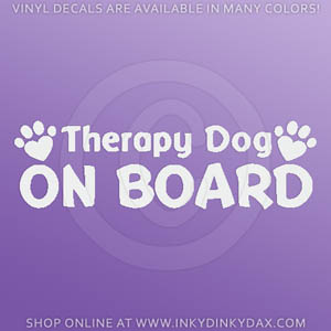 Therapy Dog On Board Decals
