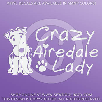 Crazy Airedale Lady Decals
