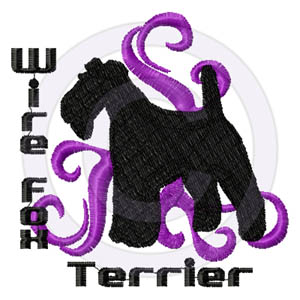 Tribal Wire Fox Terrier Embroidery