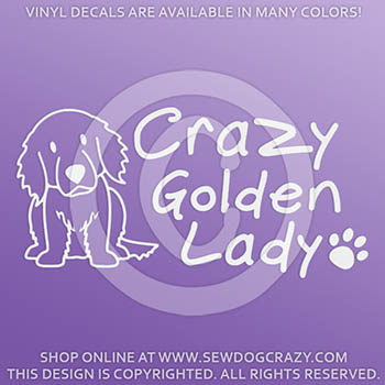 Crazy Golden Retriever Lady Decals