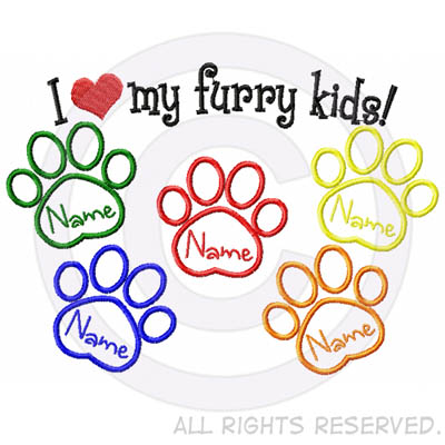 I Love my Furry Kids - Five Dogs