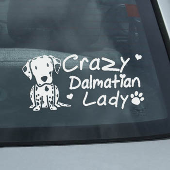 Crazy Dalmatian Lady Decal