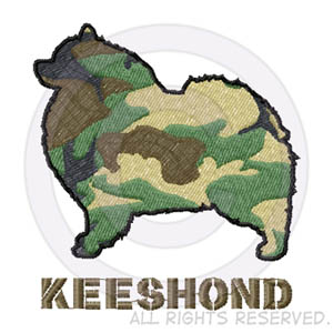Camouflage Keeshond Embroidery
