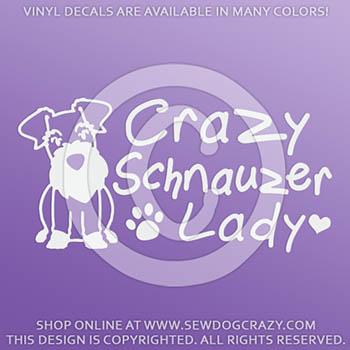 Crazy Schnauzer Lady Car Sticker