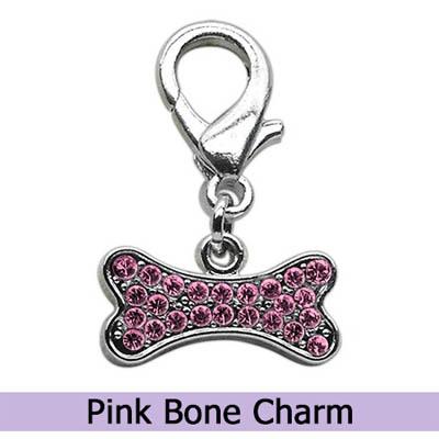 Pink Dog Bone Collar Charm