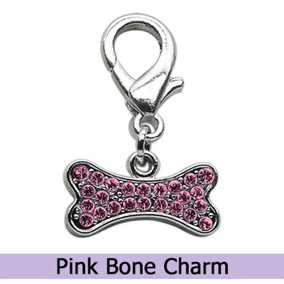 Pink Dog Bone Collar Charm