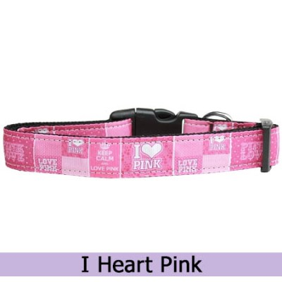 I Love Pink Dog Collar