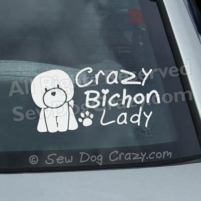 Crazy Bichon Lady Window Sticker