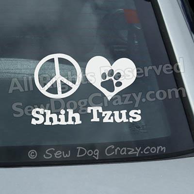 Peace Love Shih Tzus Car Decals