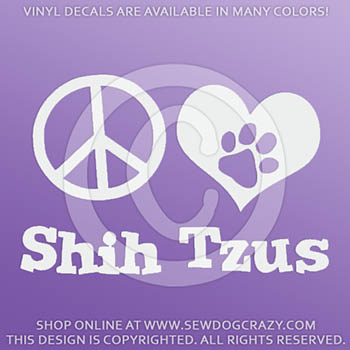 Vinyl Peace Love Shih Tzus Stickers