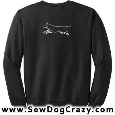 Embroidered Running Siberian Husky Tshirts