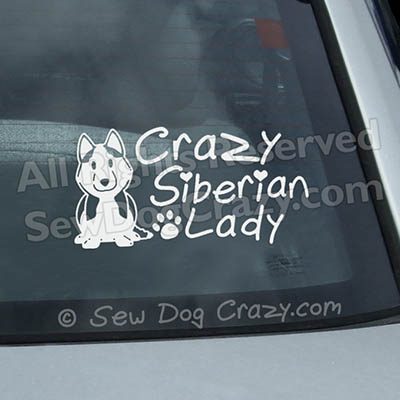 Crazy Siberian Husky Lady Car Sticker