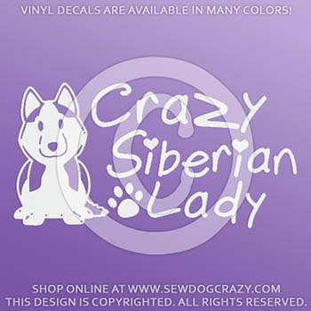 Crazy Siberian Husky Lady Decals