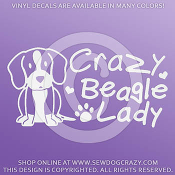Crazy Beagle Lady Car Sticker