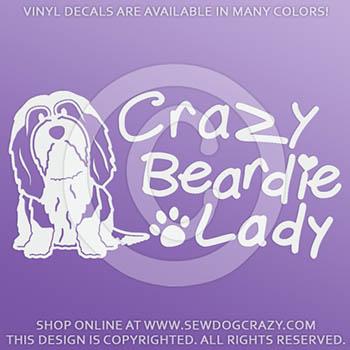 Crazy Bearded Collie Lady Vinyl Sticker