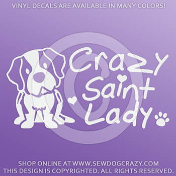 Crazy Saint Bernard Lady Car Stickers