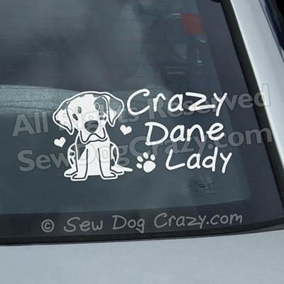 Crazy Great Dane Lady Window Sticker